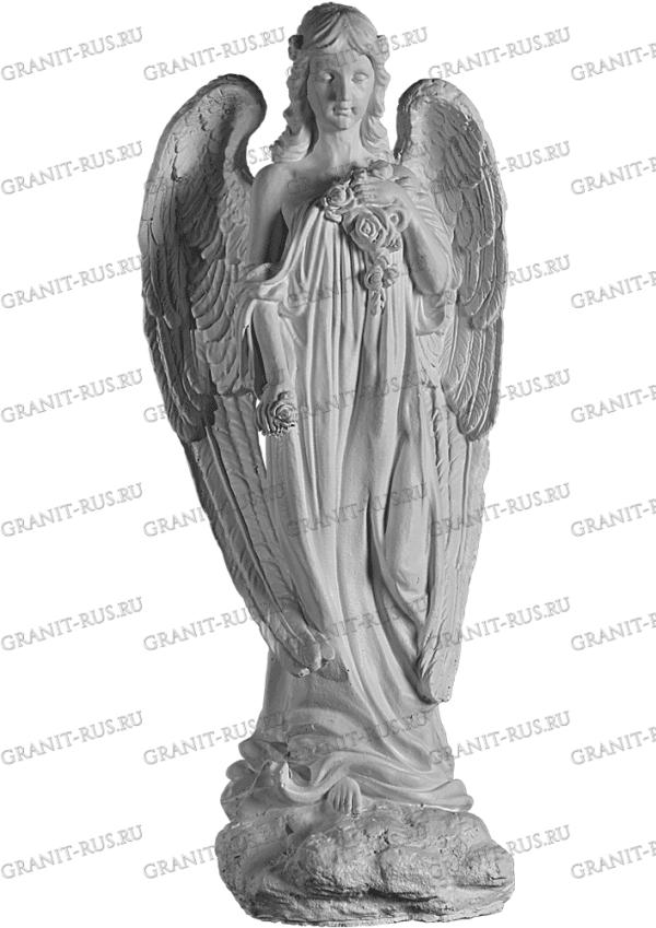 Скульптура из литьевого мрамора на могилу ангел с крыльями