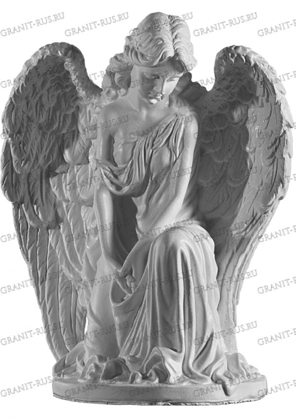ангел с крыльями Скульптура из литьевого мрамора на могилу