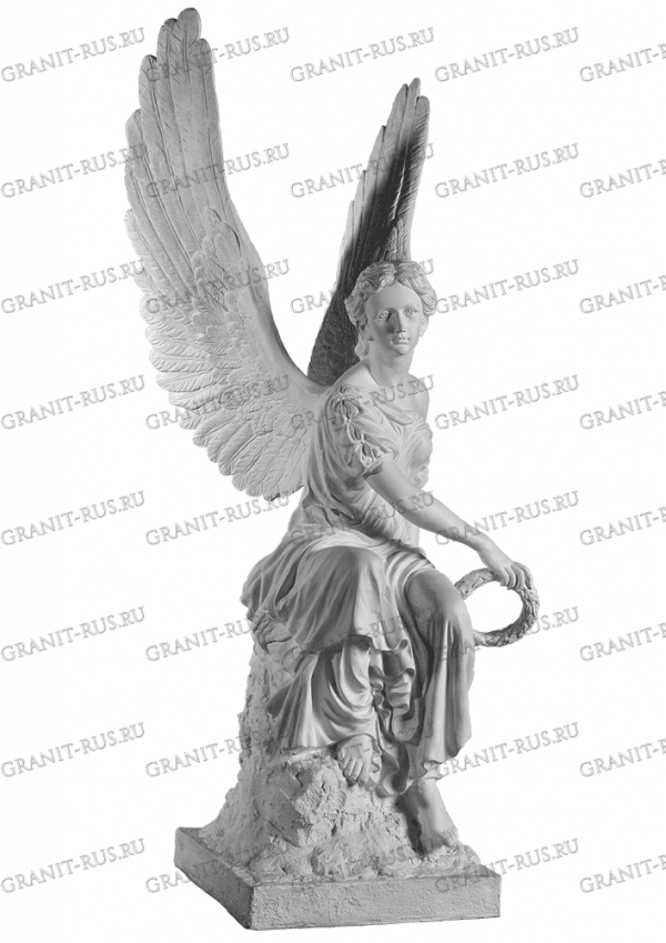 ангел на тумбе, ангел на камне Скульптура из литьевого мрамора на могилу