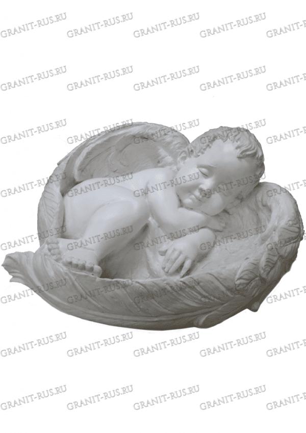 Скульптура из литьевого мрамора ангел на могилу, ангел спящий, ангел с крыльями