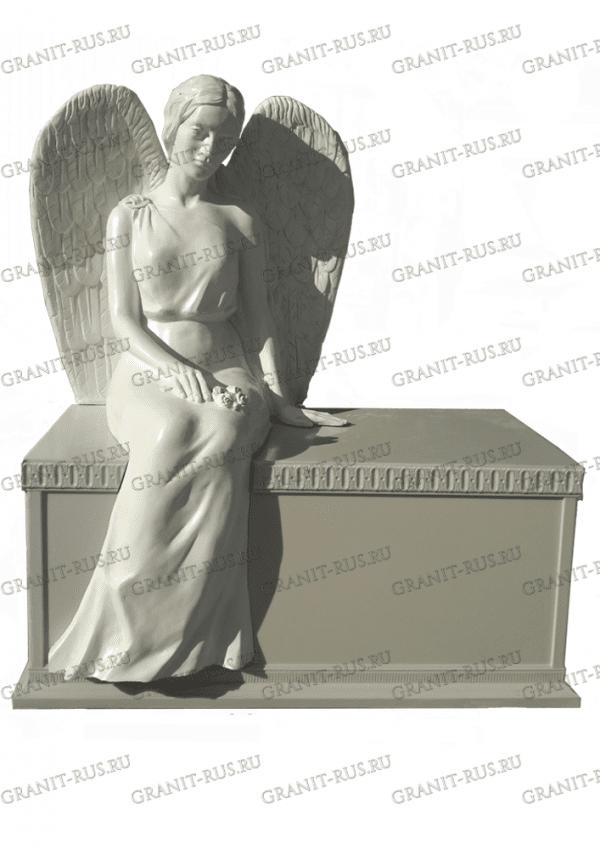 Скульптура из литьевого мрамора на могилу , на подставке, скульптура на тумбе
